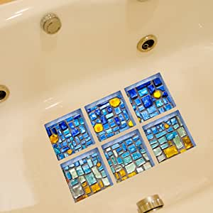 CaseFan 3D 浴胎可移除乙烯基浴缸贴纸防滑浴缸贴纸艺术家居装饰贴纸,6 件 S008 5.9 inch x 5.9 inch