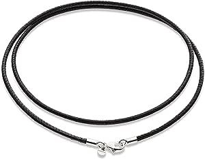 MiaBella 真正意大利 2mm 黑色皮革链项链带 925 纯银表扣,男女皆宜