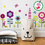 花墙贴纸适用于儿童 – 花卉 Garden 墙壁贴花适用于女孩房间 – 可拆卸适合卧室乙烯基幼儿园墙壁装饰 [ 27艺术…
