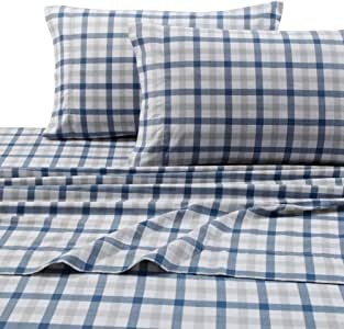 Tribeca Living DBPL200EDSSQU 200-GSM Micro Plaid Printed Flannel Sheet Set, Queen, Multicolor