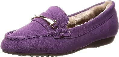 [Nobel Vogue 休闲裤] 带一条毛皮软皮平底鞋 28-8132 女士