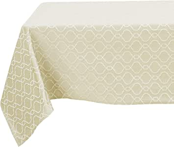 Deconovo 提花摩洛哥桌布防漏织物桌布餐桌餐桌餐桌餐桌 米色 54x102 Inch TA2604-3