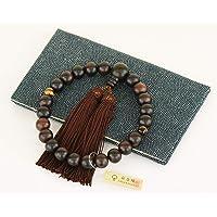 【佛坛装饰】黑檀 天虎目 纯丝 附带念珠袋 日本制造 纯粹 所有宗派均可使用 男性用