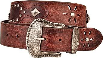 女士褪色棕色皮带金属饰钉和星星镂空西部皮带扣