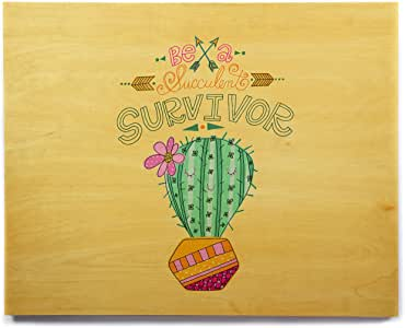 "KESS InHouse Jane Smith""Be A Succulent Survivor""多色黄色插图桦木墙壁艺术品 12"" x 12"" JS1051AHW03"