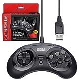Retro-Bit 官方 Sega Genesis USB 控制器 8 键摇滚板,适用于 Sega Genesis Mini、任天堂开关、PC、Mac、蒸汽、复古派对 Raspberry Pi - USB 端口 - 黑色