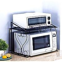 Doki 金属微波炉架欧式厨房柜台收纳架和不锈钢厨房橱柜架(黑色