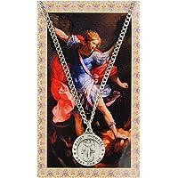 圣迈克尔·1.91 cm 锡特勋章吊坠带圣祈祷卡