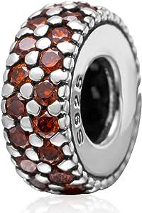 间隔珠饰品 925 纯银诞生石魅力水晶吊坠串珠生日饰品圣诞饰品手链 C LSS3443-1