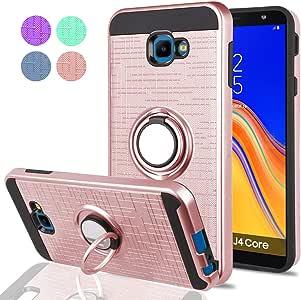 """盖乐世 J4 Core 手机壳,J4 Core J410G 手机壳,YmhxcY 360 度旋转环和支架双层减震缓冲保护套,适用于 Samsung Galaxy J4 Core (6.0"""")-ZH ZH-Rose Gold"""