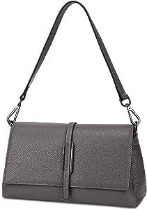 Gywon 女式斜挎包时尚单肩包真皮手提包旅行钱包手机手拿包前翻盖多口袋 灰色 大