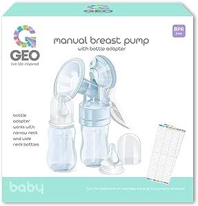 Geo 手动吸奶器,带 2 x 4 盎司婴儿奶瓶,带窄/宽瓶适配器