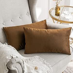 MIULEE 2 件装饰奢华系列美利奴风格抱枕套靠垫套沙发卧室汽车 T-velvet Chocolate 2 pieces, 12''x20'' double-12inch-throw-pillow-15