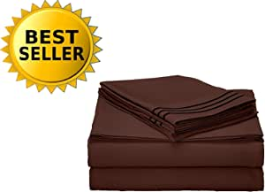 Celine Linen 1800 Series Egyptian Quality Super Soft Wrinkle Resistant & Fade Resistant Beautiful Design on Pillowcases 4-Piece Sheet set, Deep Pocket Up to 16inch, Queen Chocolate Brown