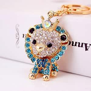 Jzcky Shzrp 可爱狮子水晶莱茵石钥匙链 钥匙链 闪亮钥匙圈 魅力钱包 吊坠 手提包 装饰节日礼物 蓝色
