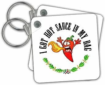 3dRose Carsten Reisinger - 插图 - 趣味辣椒辣椒辣椒辣椒 I Got Hot Sauce In My Bag - 钥匙扣