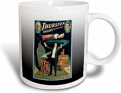 3drose BLN 复古魔术师海报–vintage HOWARD thurston kellars successor 魔术师 illusionist 海报–马克杯 白色 15盎司
