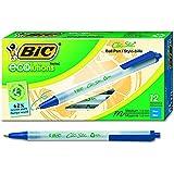 BIC ECOlutions 可伸缩圆珠笔,中等笔尖(1.0 毫米) retractable 12-Count 蓝色