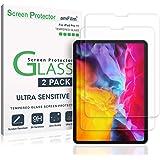 amFilm 玻璃屏幕保护膜,适用于 iPad Pro 11 英寸(2件装),钢化玻璃,超敏感,面部识别和苹果铅笔
