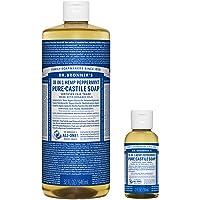 Dr. Bronner's Pure-Castile Liquid Soap – Peppermint Bundle. 32 oz. Bottle and 2 oz. Travel Bottle