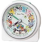 セイコークロック 置き時計 白パール 本体サイズ:8.9×8.6×4.7cm 目覚まし時計 ディズニーツムツム アナログ FD481W