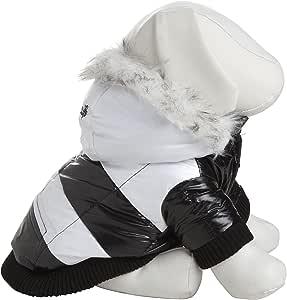 时尚条纹超毛绒宠物大衣 黑白 M