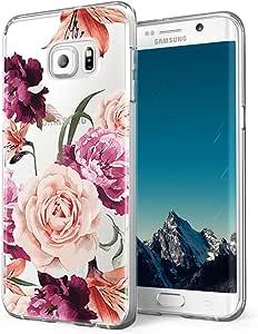 Galaxy S6 手机壳,三星 Galaxy S6 手机壳,LUOLNH 超薄防震透明花卉图案柔软柔韧的 TPU 后盖三星 Galaxy S6 手机套4336647799 紫色