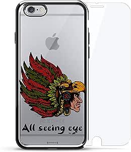 镀铬系列 360 套装:设计师手机壳 + 钢化玻璃 适用于 iPhone 6/6s PlusLUX-I6PLCRM360-TRIBAL5  All Seeing Eye Tribal Indian 银色