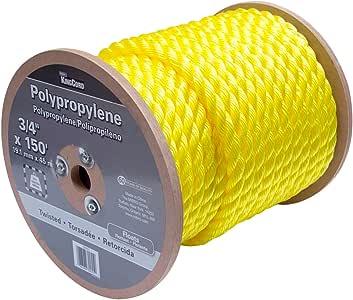 "KingCord 300551 聚丙烯绞线绳卷轴 3/4"" x 150"",黄色"