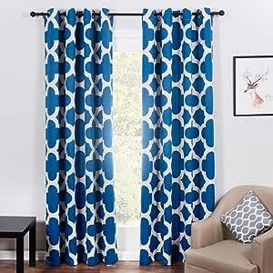 上衣 finel 四叶草隔热 grommets 遮光窗帘适用于卧室21.59cmx27.94cm 长2片红色