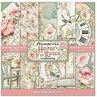 STAMPERIA SBBL66 纸张 10 张 30.5 x 30.5 (12 x 12 英寸)双面玫瑰房,多色