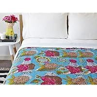 Mudit Crafts 棉质Kantha被子床罩女王印度手工蓝色水果印花盖毯双面传统拼接缝制床上用品装饰(90x108…