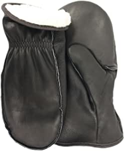 MidWest Quality Gloves 9200PLBK-J Black Pile Lined Cowhide Chopper Mitten 特大号