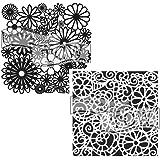 Crafter's 车间模板 2 件装,可重复使用的印刷模板,适用于艺术日记、混合媒体和剪贴簿 Flowery Frenzy/Swirly Garden 6 X 6 (2pack) 157325s