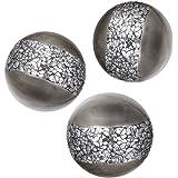 Creative Scents Schonwerk 银色装饰球状碗和花瓶(3 件套)树脂球   文艺桌*摆饰   送礼佳品(裂纹马赛克)