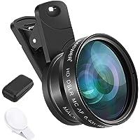 Neewer 手机相机镜头夹扣式手机相机镜头套件 - 0.43 倍广角镜头,15 倍微距镜头,镜头夹,迷你 LED 灯…