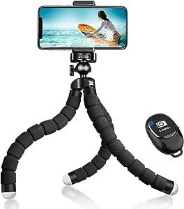 手机三脚架,YeahWhee 灵活手机相机自拍三脚架支架支架带蓝牙遥控和可折叠手机夹,适用于 iPhone、Android 手机、运动相机 Gopro