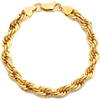 Hollywood 珠宝 24k 金绳手链链 7MM 绳高级时尚首饰链 24K 黄金链