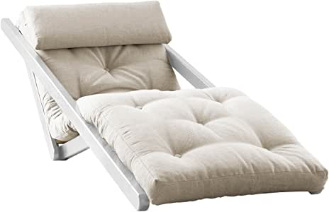 Fresh Futon Figo Convertible Futon Chair/Bed, White Frame, Natural Mattress
