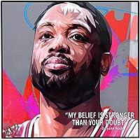 流行艺术著名篮球运动员灵感引言 [ 科比·布莱恩特] 加框亚克力帆布海报印刷艺术品 现代墙壁装饰 25.4 厘米 x 2…