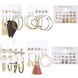 48 对时尚水滴耳环女士女孩波西米亚珍珠耳钉亚克力环流苏耳环皮革叶耳环套装珠宝生日派对礼物