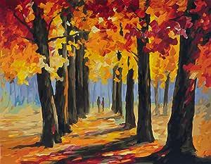 DIY 油画,编号套件绘画 - 浪漫秋季爱 40.64 x 50.8 厘米 Frameless,Just Cancas Love Autumn (8)
