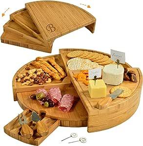 Ascot 野餐个性化雕刻分层竹制奶酪板,带奶酪工具和标记 - 从小巧的楔形到 45.72 cm 直径开合 - 美国*和质量* Letter - B Personalized with Letter
