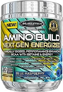 MuscleTech Amino Build Next Gen能量补品,由BCAA氨基酸,甜菜碱,维生素B12和B6组成,橙子芒果口味,30份(282g)