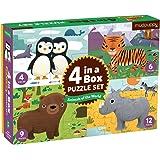 Mudpuppy 世界动物 4 合 a-Box 拼图套装