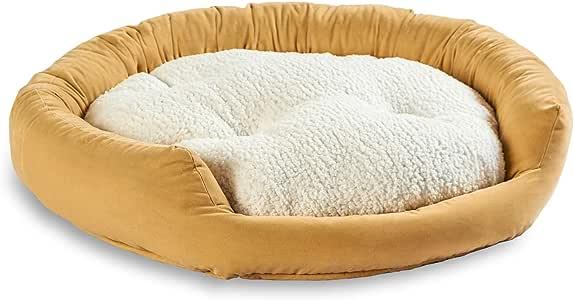 South Pine Porch Maddie 甜圈狗床 带可拆卸中心枕头 中号,奶油色