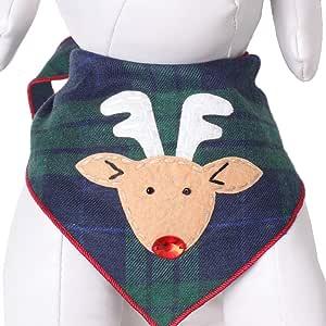 Tail Trends 圣诞狗手帕(圣诞老人、雪人、鲁道夫)设计师贴花 * 纯棉 红鼻 大