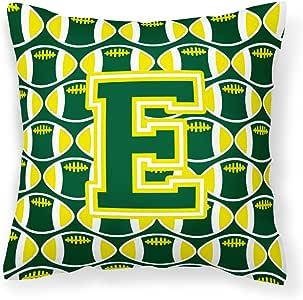 Caroline's Treasures CJ1075-EPW1414 字母 E 橄榄球绿色和黄色织物装饰枕头,35.56 cm 高 x 35.56 cm 宽,多色