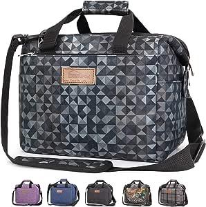 HOMESPON 绝缘午餐袋多功能午餐手提袋午餐盒带肩带 2 种适合女士/男士/儿童上学/上班/野餐 黑色几何图形 Transfer-black geometric