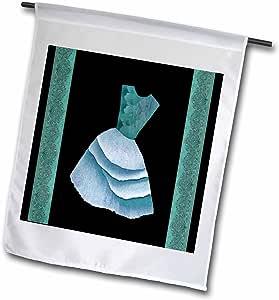 jaclinart 连衣裙花朵图案自然锦缎 ribbons–teal 和蓝色花朵上衣连衣裙 ON black backround with 锦缎 ribbons–旗帜 12 x 18 inch Garden Flag
